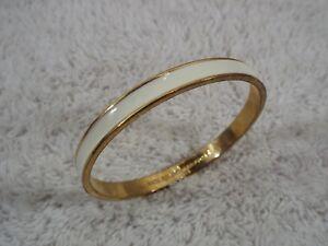 KATE-SPADE-New-York-Goldtone-Cream-Bangle-Bracelet-C28