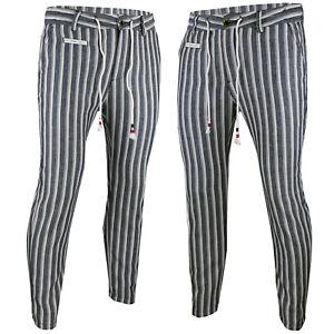 Pantaloni-uomo-eleganti-slim-fit-elasticizzati-tasca-casual-Lino-e-Cotone-RDV