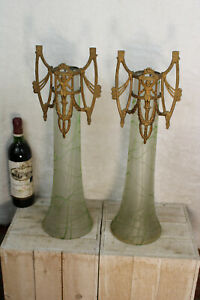 XL Paire Grand Art Nouveau acide verre gravé vase cadre Putti Angelot RARE