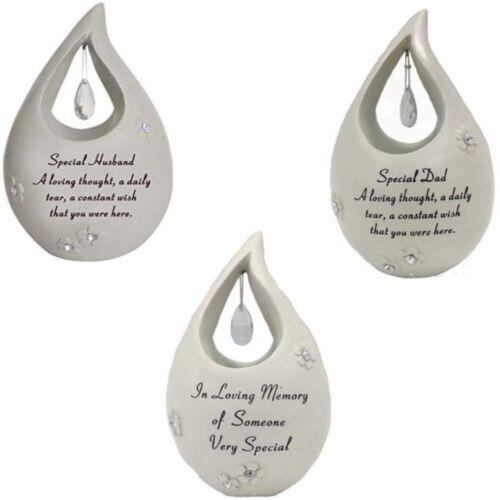 Graveside Memorial Diamante Tear Drop Assorted Relatives Ornament Tribute Plaque