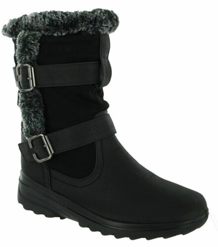 Ladies Cushion Walk Faux Leather Fur Trim Lined Buckle Zip Up Shoes Winter Boots