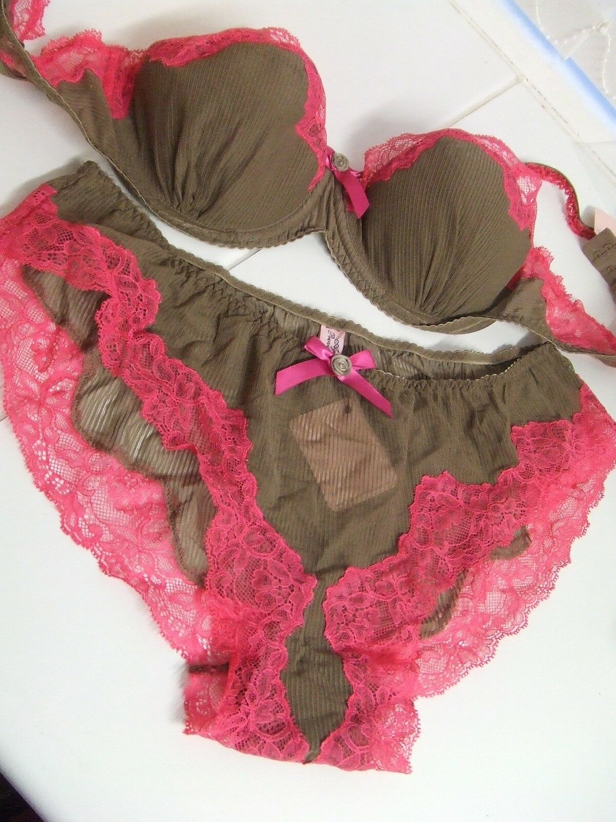 AGENT PROVOCATEUR CARAMBA CHOCOLATE BRA 36D & FRENCH KNIX SIZE LARGE UK12-14 NWT