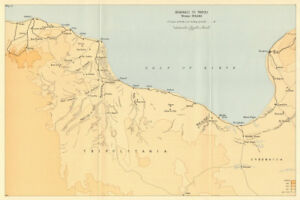 World War 2 North Africa Campaign 1966 map Benghazi to Tripoli Winter 1942//43