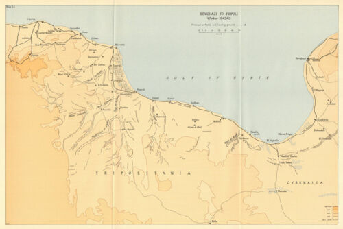 Benghazi to Tripoli Winter 1942//43 World War 2 North Africa Campaign 1966 map