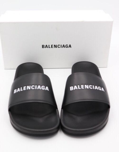 Black Leather Flat Pool Slide Sandals