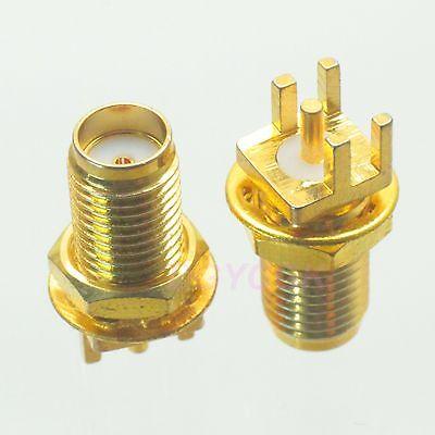 2pcs connector SMA female jack bulkhead solder PCB clip edge mount straight F