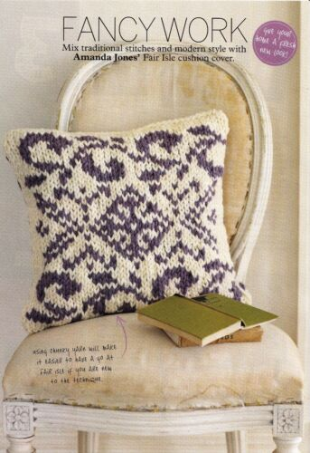 KNITTING PATTERN HOME CHUNKY FAIR ISLE VINE /& DIAMOND CUSHION COVER SKM AUA
