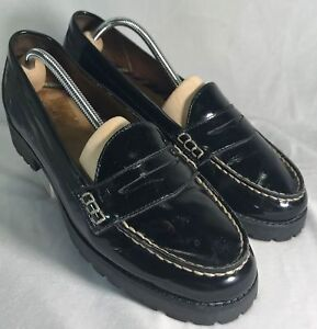 Sperry-Top-sider-9-5-Black-Leather-Patent-Upper-Rubber-Sole-Windsor-Penny-Loafer