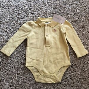 Ralph Lauren Outfit Layette Yellow smooth cotton One Piece Bodysuit 6 MO 9 MO