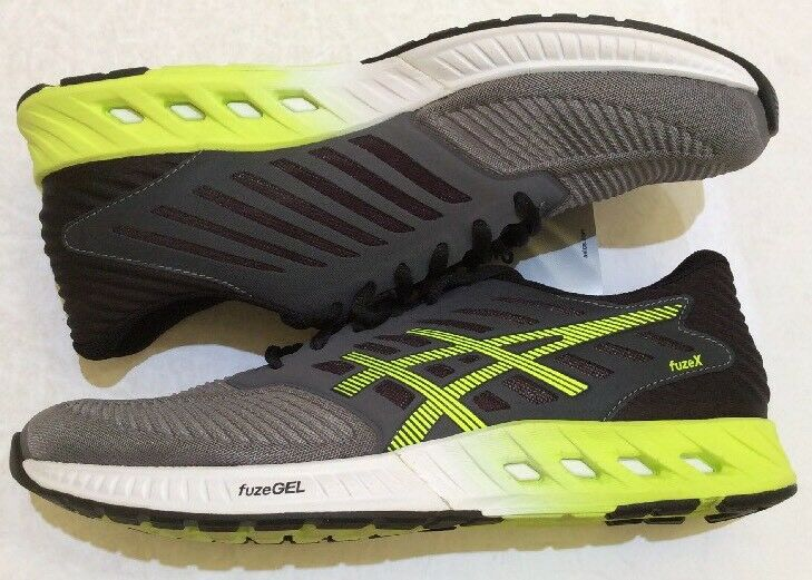 NWB Asics T639N.9707 fuzeX Grey   Lime Yellow Men's Running shoes Size 7.5 US