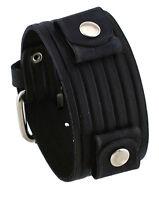 Nemesis Veb-k Groove Pattern Wide Black Leather Cuff Wrist Watch Band