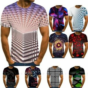Funny-Hypnosis-3D-T-Shirt-Printing-Colorful-Print-Casual-Short-Sleeve-Tops
