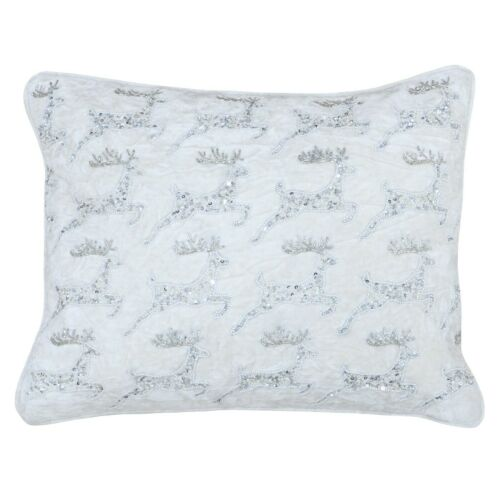 LEAPING REINDEER SEQUIN  CUSHION WHITE SILVER CHRISTMAS SOFT FURNISHINGS