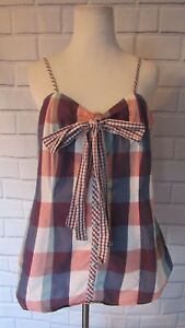 Kensie-Tank-Top-Sz-L-Pink-Purple-Plaid-Bow-Gingham-Up-Blouse-Spaghetti-Strap