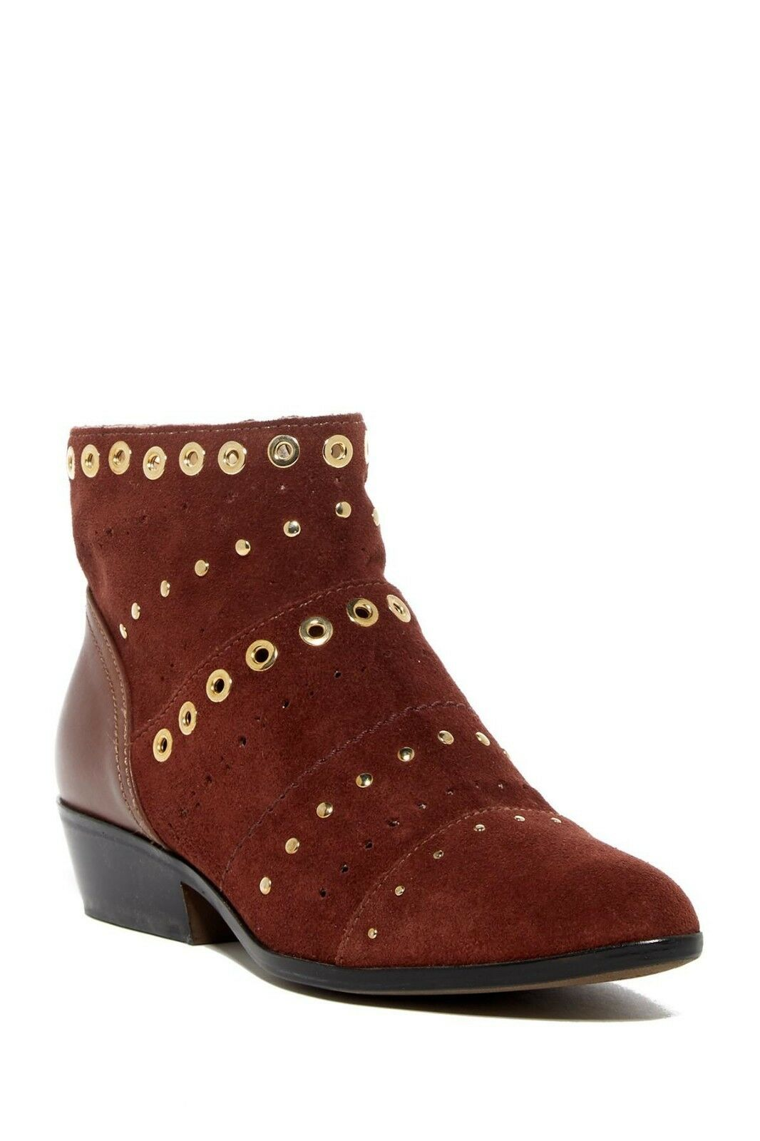 NEW GEOX Kennity Suede Ankle Boot, Wine, Studded, Women Size 37 (6.5-7 US),