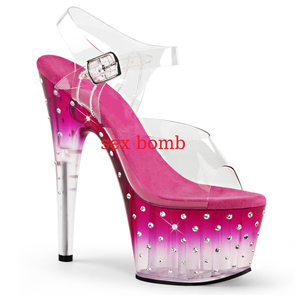 Sexy SANDALI STRASS STRASS STRASS tacco 18 plateau dal 35 al 40 TRASPARENTE/ROSA glamour CLUB 4d4c21