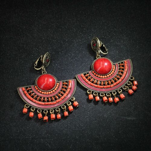 Boucles d/'oreilles CLIP ON Chandelier Tassel Ethnique Rouge Perle Orange QD5