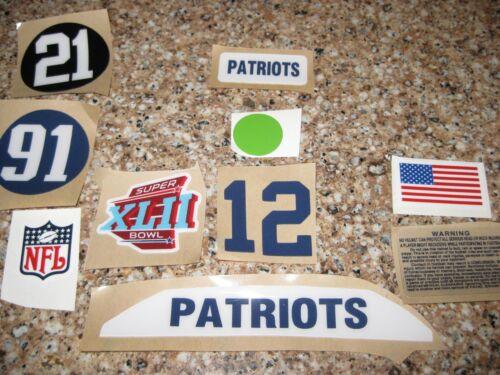 football helmet decals New England Patriots SB42 custom helmet decal setup