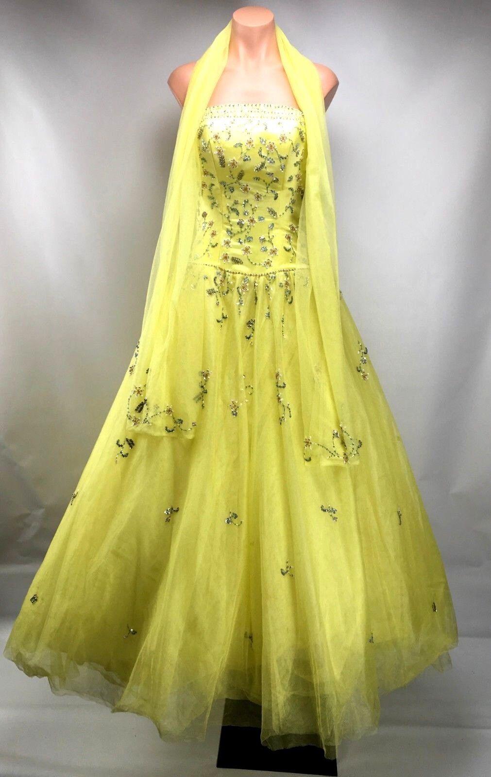 Jaune Tulle Sequin Beaded Robe de bal Prom Sweet 16 Robe Alyce Designs Sz 4