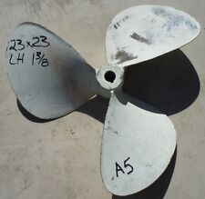 "23 X 23 BRONZE 3 Blade Left Hand Propeller 1-3/8"" Bore Prop Wheel 23x23 A5"
