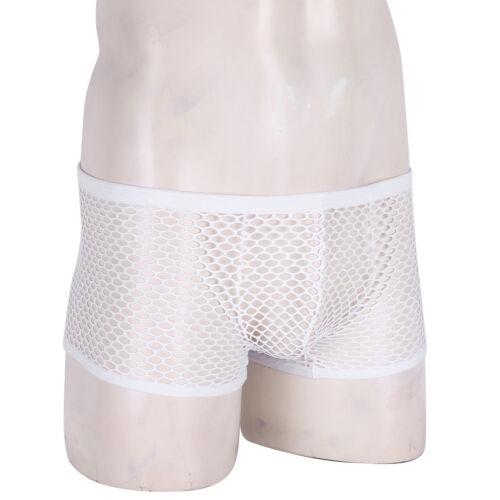 Mens Gay Breathable Boxer Briefs Bulge Pouch Trunks Fishnet Underwear Underpants