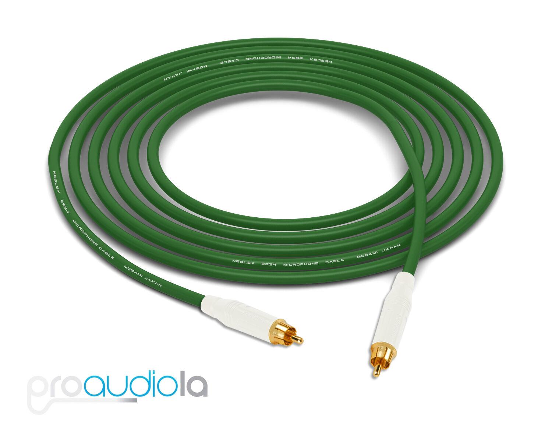 Mogami 2534 Quad Cable   Weiß Amphenol RCA to RCA   Grün 40 Feet 40 Ft. 40'