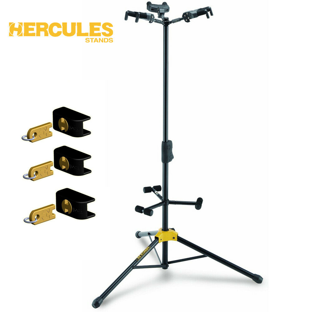 Hercules GS432B Triple Guitar Stand with Auto Grab Bundle with 3 Locks HA101S