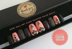 Extra Long Hand Painted False Nails Black Glitter Matte Peach