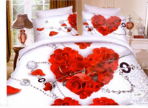 3D Effect 4 Piece Bedding Complete Set Quilt Cover,Fitted Sheet /& Pillow cases