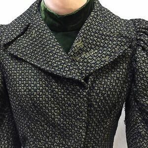 Victorian-Boned-Bodice-Black-Green-Wool-Tweed-Velvet-Collar-Dickey-Waist-Blouse