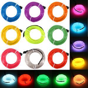 1-2-3-4-5-20M-Led-Flexible-EL-Wire-Neon-Glow-Light-3V-12V-Controller-Battery-USB