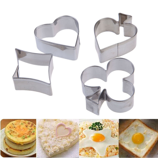 4pcs Stainless Steel Cookie Cutter Mold Fondant Biscuit Pastry Baking Cake Decor
