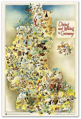 GERMAN FOOD MAP Gourmet European Dining /& Wining in Germany circa 1950  24x36