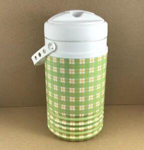Vintage-Igloo-Green-Plaid-Wrap-1-2-Gallon-Water-Beverage-Cooler-Made-USA