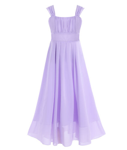 UK Kid Chiffon Flower Girl Dress Princess Pageant Party Wedding Bridesmaid Dress