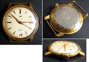 ancienne montre homme lip dato plaqu or avec dateur clock. Black Bedroom Furniture Sets. Home Design Ideas