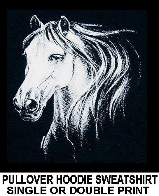BEAUTIFUL EQUESTRIAN HORSE SHOW ART Weiß HORSE HOODIE SWEATSHIRT WS317