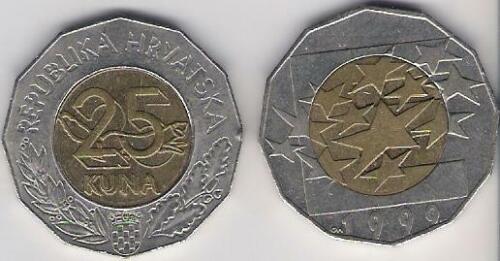 Croatia 25 Kuna bimetallic European Union 1999 XF Europe EU