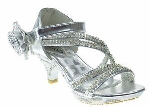 New Pageant Flower Girls Metallic Silver Dress Shoes ...