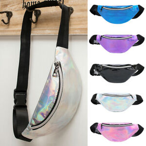 Women-Iridescent-Holographic-Fanny-Pack-Shiny-Waist-Bag-Hip-Purse-Travel-Bag-US