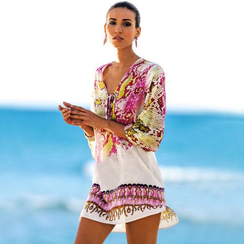 Damen V-Ausschnitt Bikini Cover Up Badekleid Sommer Strand Minikleid Beachwear