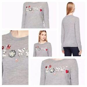 4c72d2f693b NWT Kate Spade Embellished Love Wool Sweater XL NEW  298 Be Mine