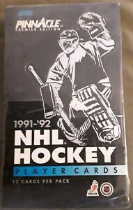 Brand-New-1991-92-Pinnacle-Hockey-Factory-Sealed-Box-36-Packs-Box-12-Card-Pack