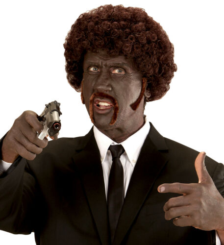 Pulp Fiction Afro Perücke mit Schnurrbart und Koteletten Braun Gangster Locken