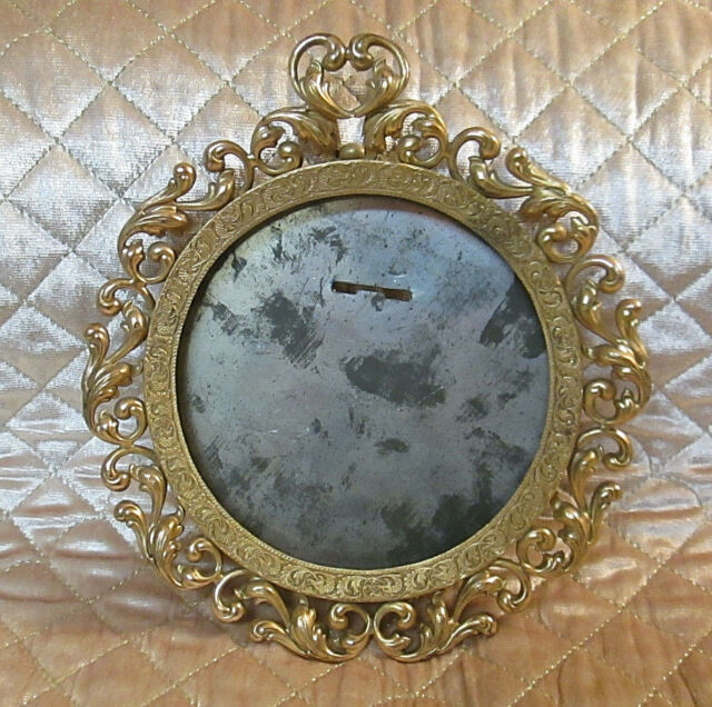 Vintage Ornate Round Brass Picture Frame  Columbia Studios Chicago Art Nouveau