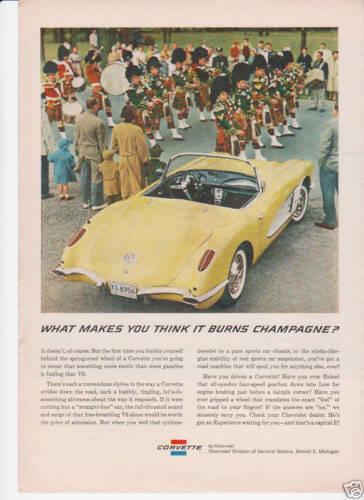 1959 CHEVROLLET CORVETTE PANAMA YELLOW CONVERTIBLE original VETTE AD