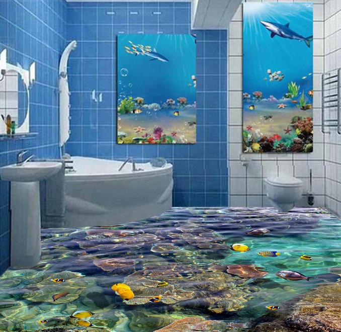 3D Coral Fish 6155 Floor WallPaper Murals Wall Print 5D AJ WALLPAPER AU Lemon