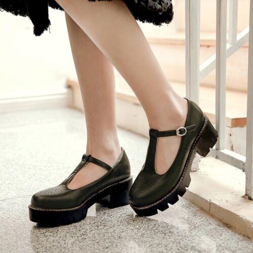 Women Retro Mid Heels T-Strap Mary Jane Block Platforms Pumps Buckle Shoes Size