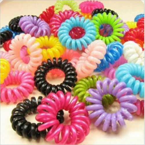 20//100X Girl/'s Elastic Phone Cord Rubber Hair Ties Band Rope Ponytail Holder 5HU