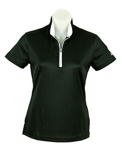 Womens-Short-Sleeve-Black-Sports-Golf-Polo